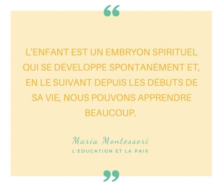 Citation Maria Montessori embryon spirituel | ICy déco